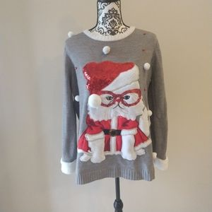 Holiday White Santa Cat Ugly Christmas Sweater, 0X